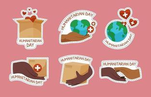 Humanitarian Day Sticker Set vector