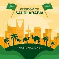 Saudi National Day with City Landscape vector