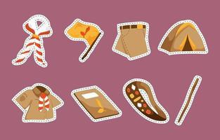 Sticker Pack Pramuka Day vector