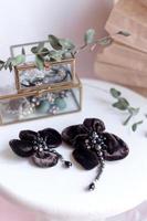 Beautiful fashion accessory. Handmade accessories brown brooch photo