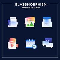Glassmorphism Business Office Icon Set vector