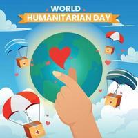 cartel de la mano del amor del día mundial humanitario vector