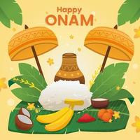 Onam Day with Lots of Food vector