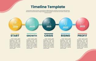 infografía timeline templete con color pastel vector
