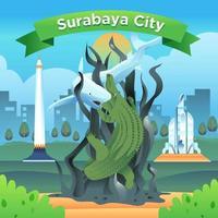 Surabaya City of Indonesia Famous Landmark vector