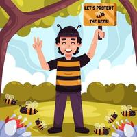 salvar a las abejas vector