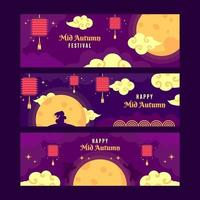 Mid Autumn Festical Banner Collections vector