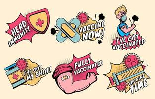 After Vaccinations Sticker Collections vector