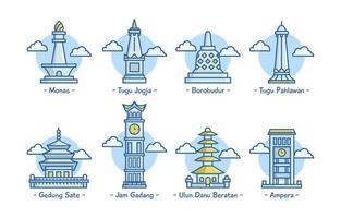 Set of Indonesia Landmark Icon vector
