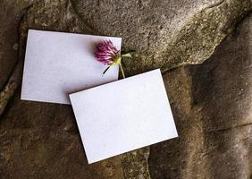 Wedding details flat lay. Wedding invitation. Mock up. Clover. photo