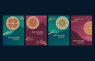Mooncake Card Collection for Happy Mid Autumn Festival vector