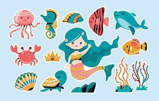 Adorable Mermaid Sticker Collection vector