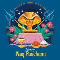 Happy Nag Panchami Indian Celebration Concept vector