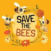 Save the Bees Concept Design with Text vector