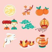 Set of Mid Autumn Festivity Element vector
