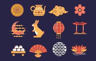 Set of Mid Autumn Festivity Icon vector