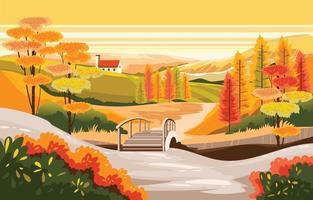 Beautiful Autumn Scenery landscape Background vector