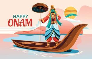 Happy Onam Indian Festival Celebration Concept vector