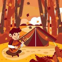 tocar la guitarra en el campamento de otoño vector