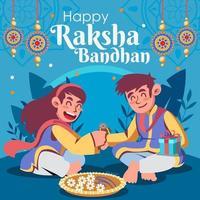 Brother and Sister  Celebrate Raksha Bandhan vector