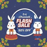 Mid Autumn Chuseok Sale Poster With Cute Bunny vector