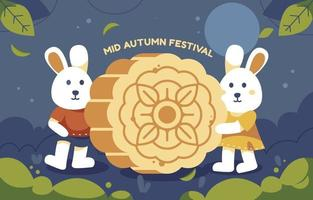 Couple Bunny Celebrating Mooncake Festival vector