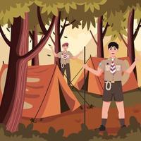 pramuka acampando en el bosque vector
