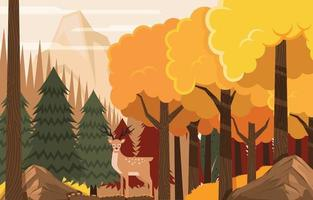 Autumn Forest Scene with Deer On the Jungle vector