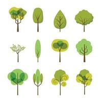 colección de iconos de árbol minimalista y lindo vector