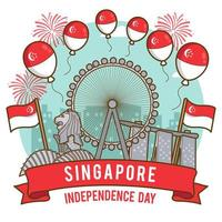 Singapore Landmarks as The Focus of Independence Day vector