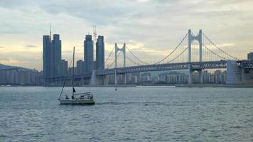 Gwangan bridge with Busan City, South Korea video