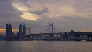 Time lapse Gwangan beach with Gwangan bridge in Busan, South Korea video
