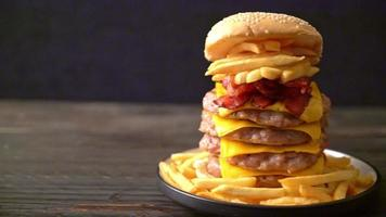 Pork burger with cheese bacon and fried - unhealthy food video