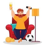 Sport fan cheering for his favorite football team vector