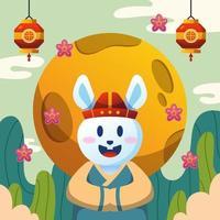 Rabbit Celebrates Chuseok Festival vector