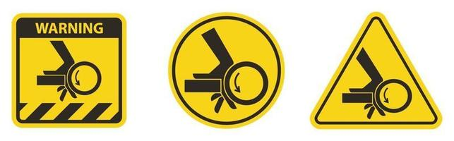 Hand Crush Roller Pinch Point Symbol Sign vector
