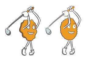 Cartoon Corn Flake Playing Golf vector