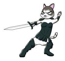 diseño de personaje de dibujos animados femenino gato guerrero vector