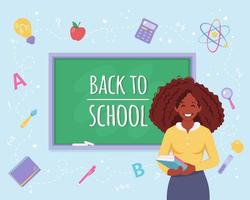Back to school concept. Black female teacher in classroom vector