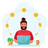 Earn money online. Man working on laptop and making money online vector