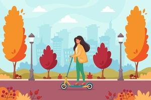 Woman riding electric scooter in autumn park. Eco transport vector