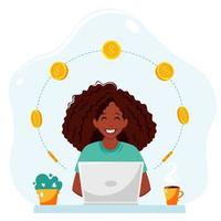 Earn money online. Black woman with a laptop and coins. vector