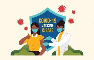 covid-19 después de la vacuna en estilo plano vector