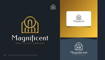 Luxury Gold Real Estate Logo Design with Line Style vector