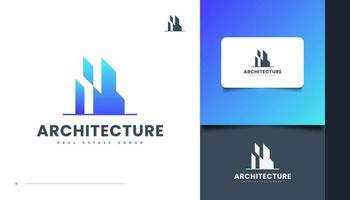 Abstract and Futuristic Real Estate Logo Design in Blue Gradient vector