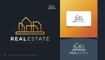 Minimalist Real Estate Logo Design with Line Style vector