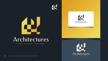 Abstract Gold Real Estate Logo Design vector