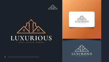 Luxury Real Estate Logo Design with Line Style. House Logo vector