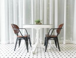 Empty dining table interior decoration in dining room photo