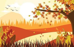 fondo de paisaje de otoño vector